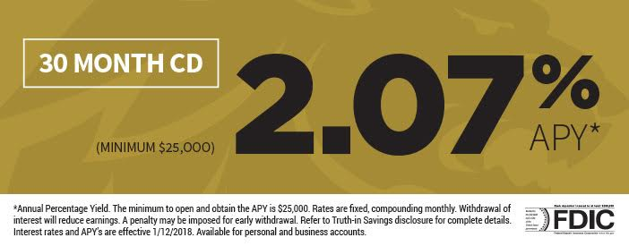 30 month CD, 2.07% Annual Percentage Yield, Minimum $25,000