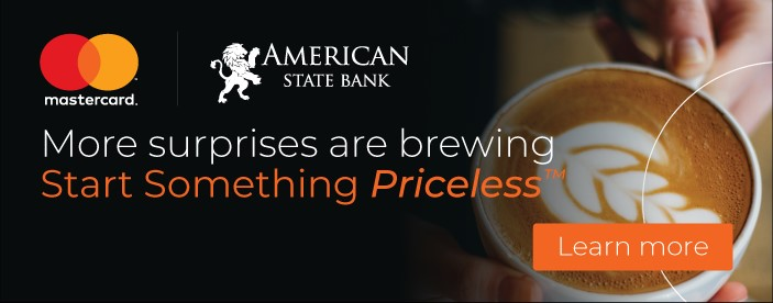 photo of hand holding coffee cup  with information on priceless surprises debit card campaign